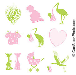 Birth icon - Set of icons on a children theme. A vector...