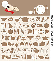 Food icon5 - Set of icons on a meal theme. A vector...
