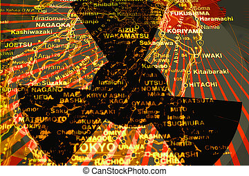 Fukushima Radiation - Illustration of Radiation - Map of...