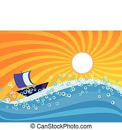 Sea wave with orange sunburst sky