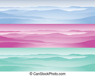 Mountain range set of three in blue, pink and mint green