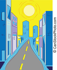 City Street - City street in summer with tall buildings,...