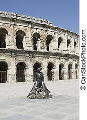 parte, antiguo, arenas, torero, estatua