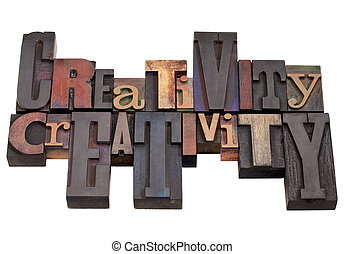 creativity word abstract in vintage wood letterpress...