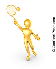 Man playing tennis on white isolated background