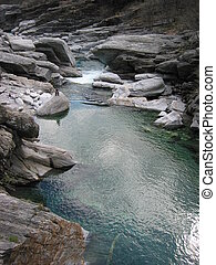 Mountain river in Verzasca Valey