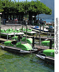 Green pedal boats for rent