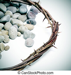 Jesus Christ crown of thorns - close up of a representation...