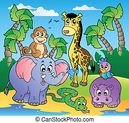 African beach with cute animals - vector illustration