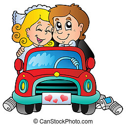 Car with wedding couple - vector illustration.