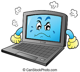 Cartoon angry laptop - vector illustration