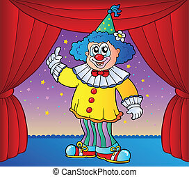 Clown on circus stage 2 - vector illustration.