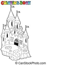Coloring book with castle 1 - vector illustration