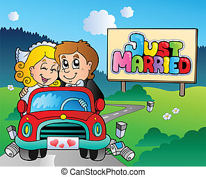Just married couple driving car - vector illustration
