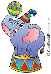 Cartoon circus elephant - vector illustration