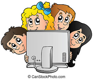 Cartoon kids with computer - vector illustration
