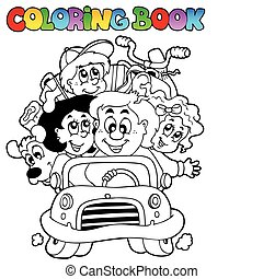 Coloring book with family in car - vector illustration.
