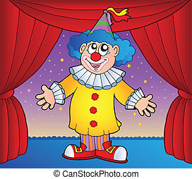 Clown on circus stage 1 - vector illustration.