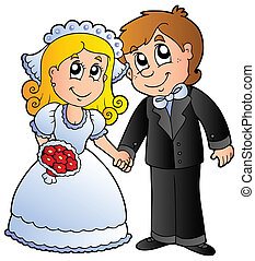 Cute wedding couple - vector illustration.