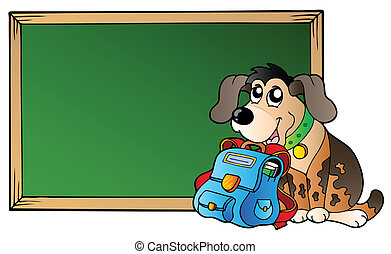 Board with dog and school bag - vector illustration.