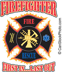 Firefighter First In Design - Illustration of a flaming...