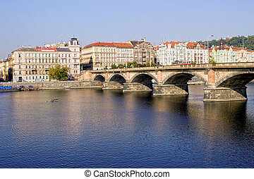 Palackeho Bridge in Prague - Palackeho Bridge on the Vltava...
