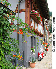 Wall of an old house in Fribourg, Switzerland