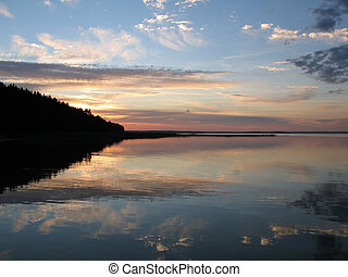 Scenic sunset over famous Belorussian lake Naroch