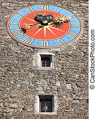 Ancient clock (1535) on the Zytturm tower in Lucerne,...