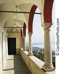 Balcony of the church in Madonna del Sasso, Switzerland