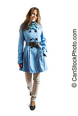 girl in  coat - Pretty girl in  coat. Isolated over white