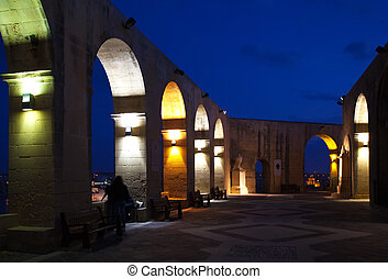 Barrakka Gardens at Valletta in night - View of Barrakka...
