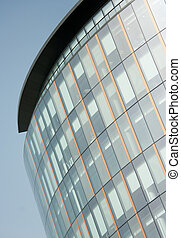 Glass office frontage in Glasgow, Scotland