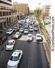 Busy street of Er Riyadh, Saudi Arabia