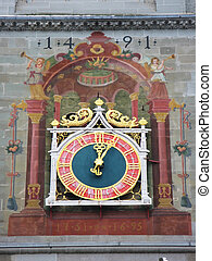Ancient clock in Constance, Germany