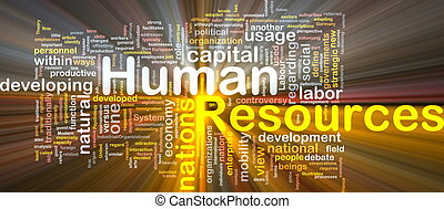 Human resources is bone background concept glowing -...