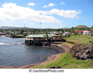 Harbor of Hangaroa vilage, Easter Island