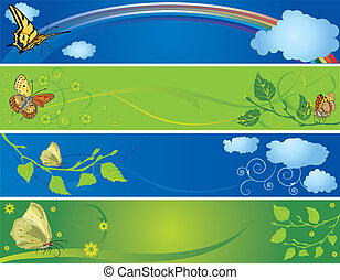 set of spring and summer banners