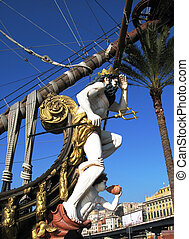 Neptune on the prow of old Spanish galleon. Genoa, Italy