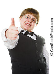 young businessman - happy young businessman giving thumb up...