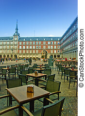 Plaza Mayor square, Madrid - Cafes at Plaza Mayor in Madrid,...