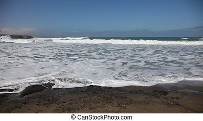 Black sand beach on Canary Island Fuerteventura, Spain
