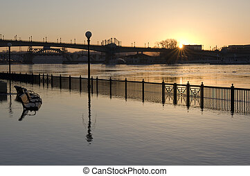 Flooded Mississippi River in downtown Saint Paul - At the...