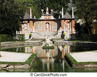 Famous trick fountains at Hellbrunn palace. Salzburg,...