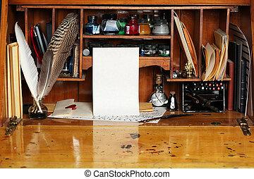 antigas, escrita, escrivaninha