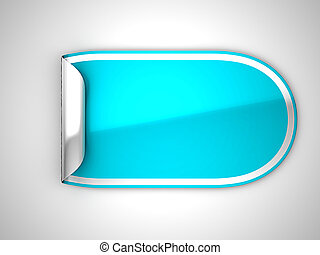 Blue rounded bent sticker or label