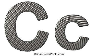 Carbon fiber font C lowercase and capital letters isolated...
