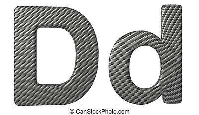 Carbon fiber font D lowercase and capital letters isolated...