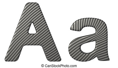 Carbon fiber font A lowercase and capital letters isolated...