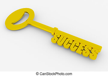 Key to success - Gold key to success on white surface....